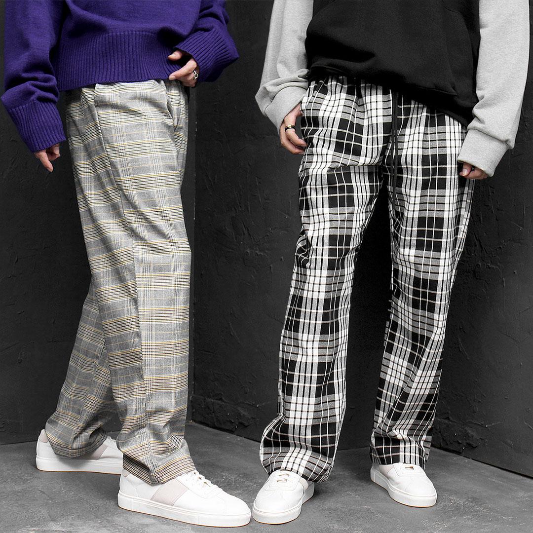 Elasticized Waistband Plaid Wide Pants 656