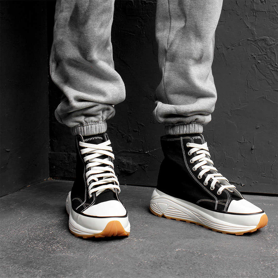 6cm Heel High Top Canvas Lace Up Sneakers 740