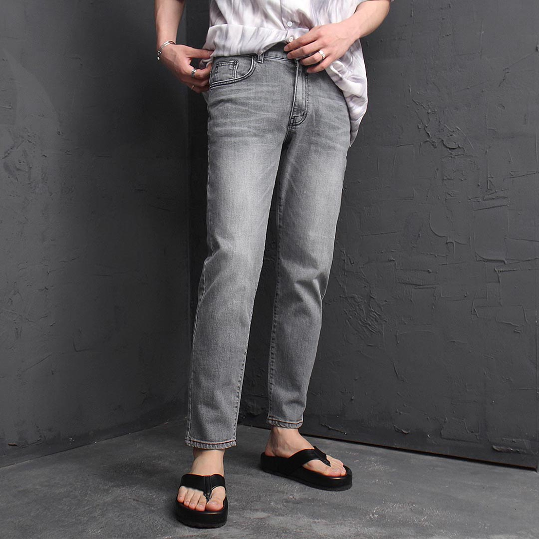 Vintage Washed Gray Straight Jeans 1233