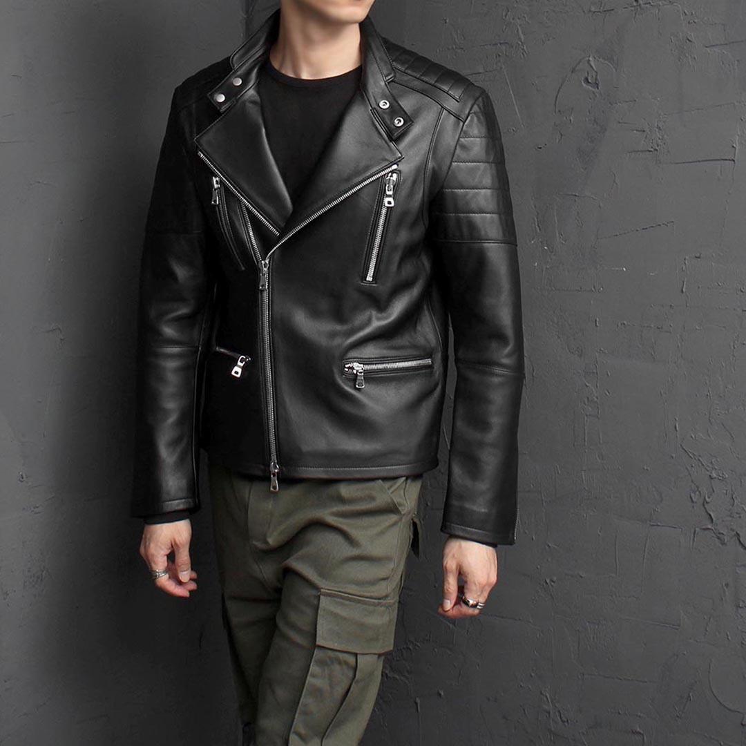 2 Way Zip Up Shoulder Panel Leather Rider Jacket 1574