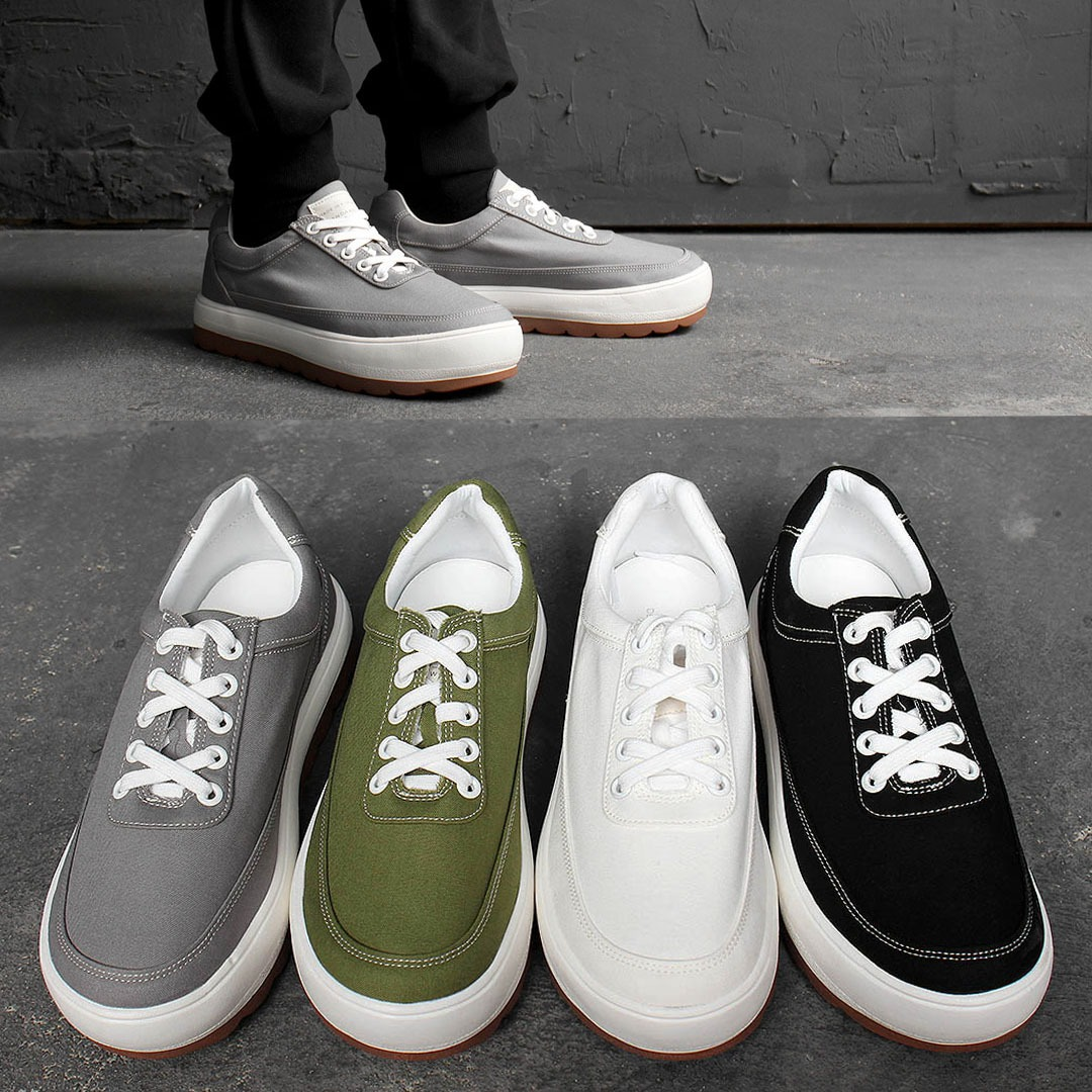 5cm Heel Color Canvas Lace Up Sneakers 1775