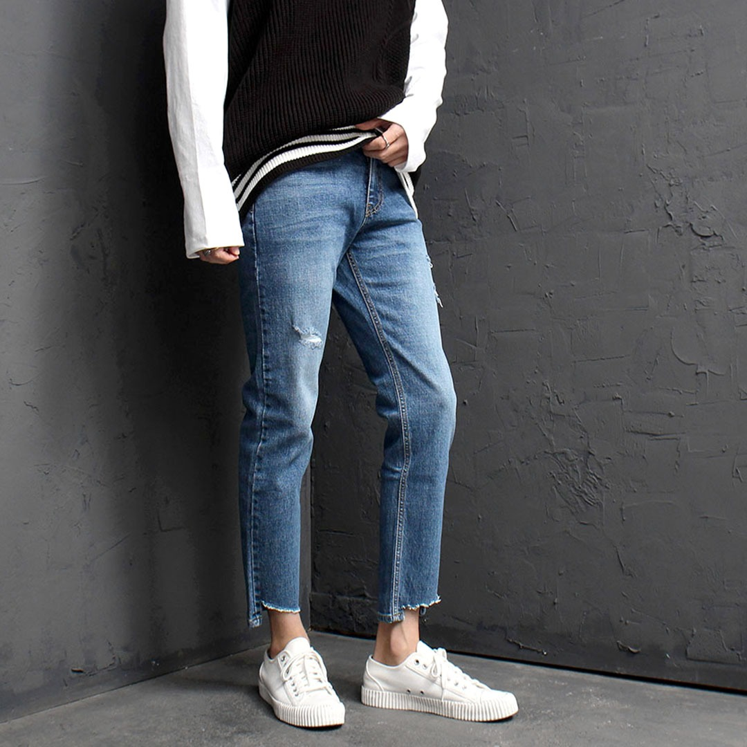 Vintage Cut Off Styling Blue Skinny Jeans 1850
