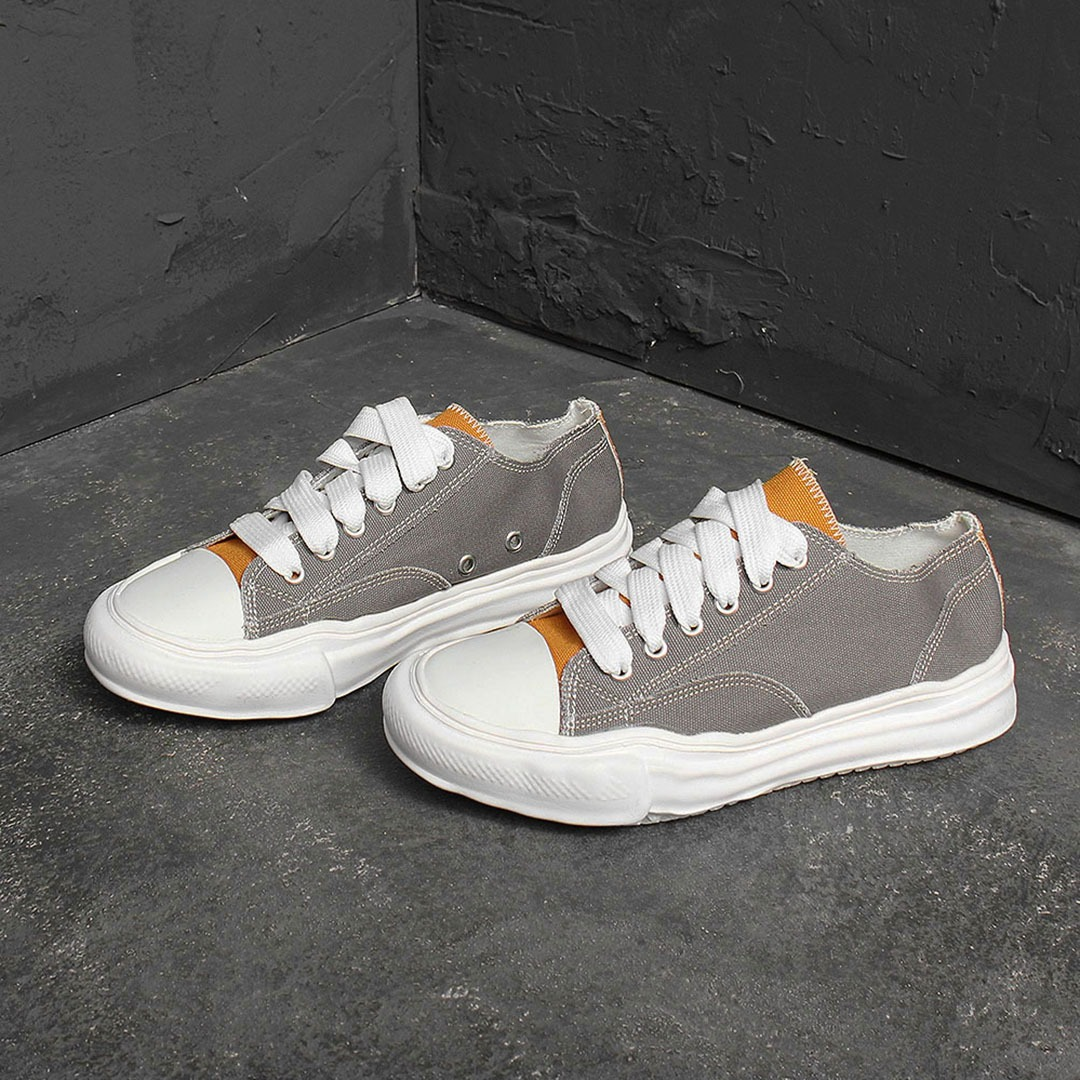 Wide Canvas Lace Up Sneakers 1887