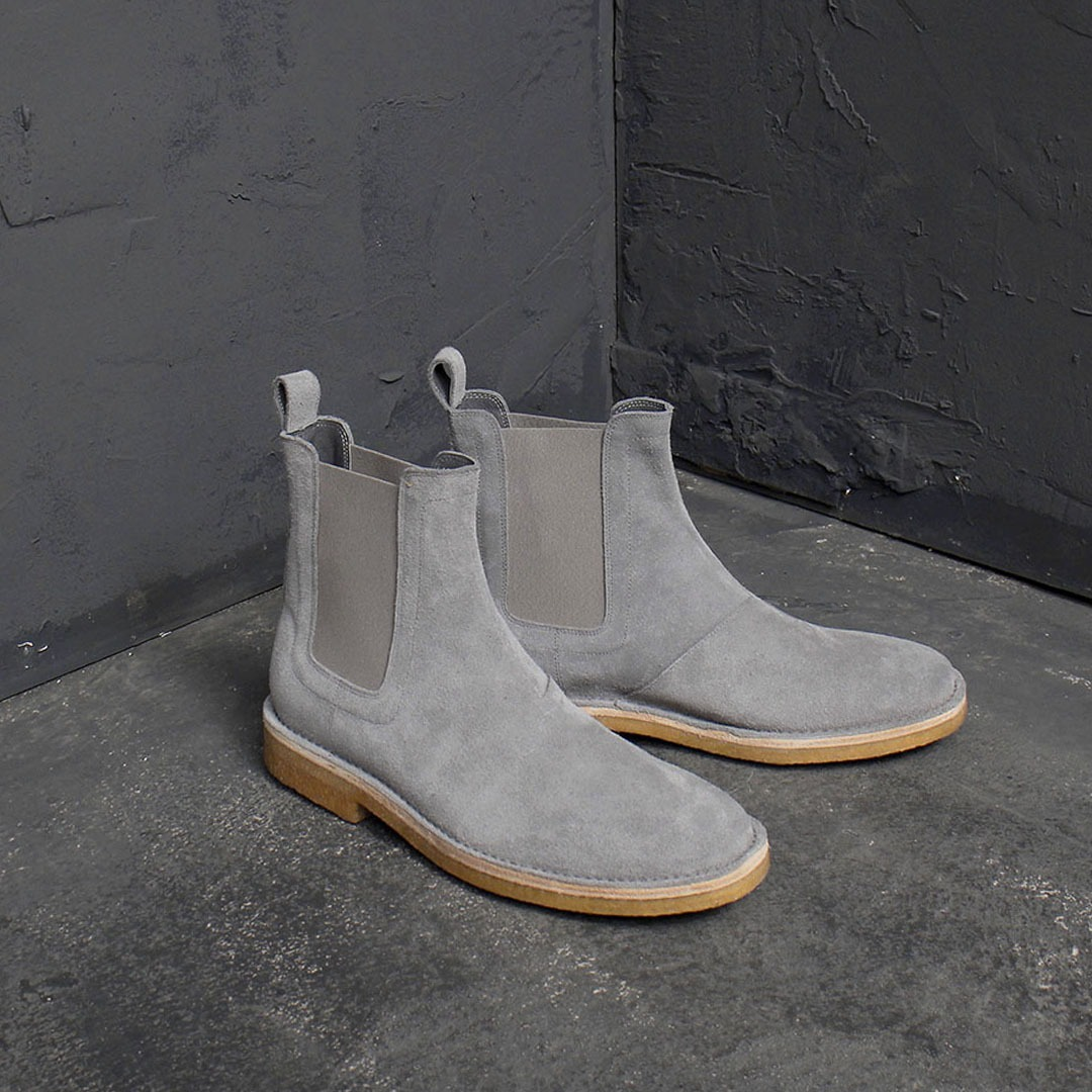 Handmade Suede Leather Chealsea Dealer Raw Rubber Sole Gray Boots 1843