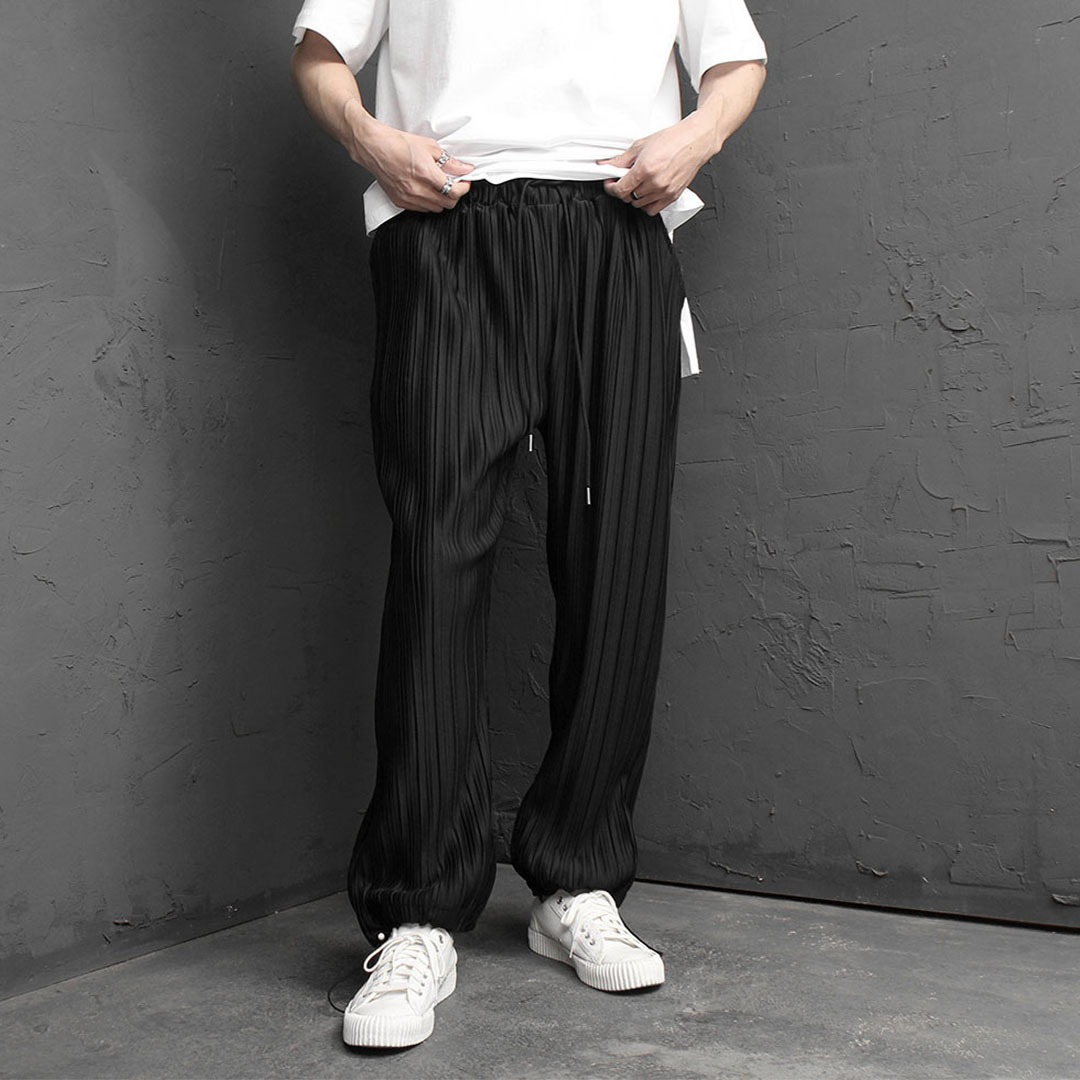Loose Fit Wide Pleated Elastic Waistband Pants 2019