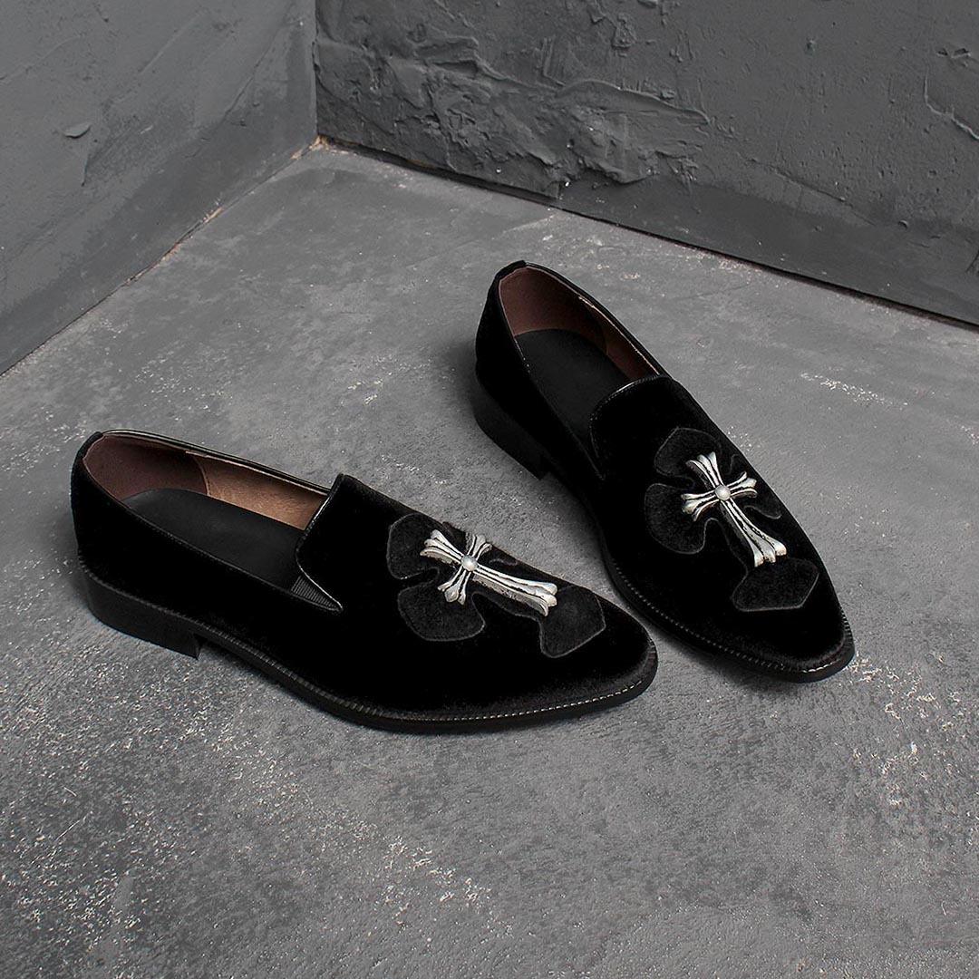 Handmade Velvet Antique Cross Leather Loafer 2061