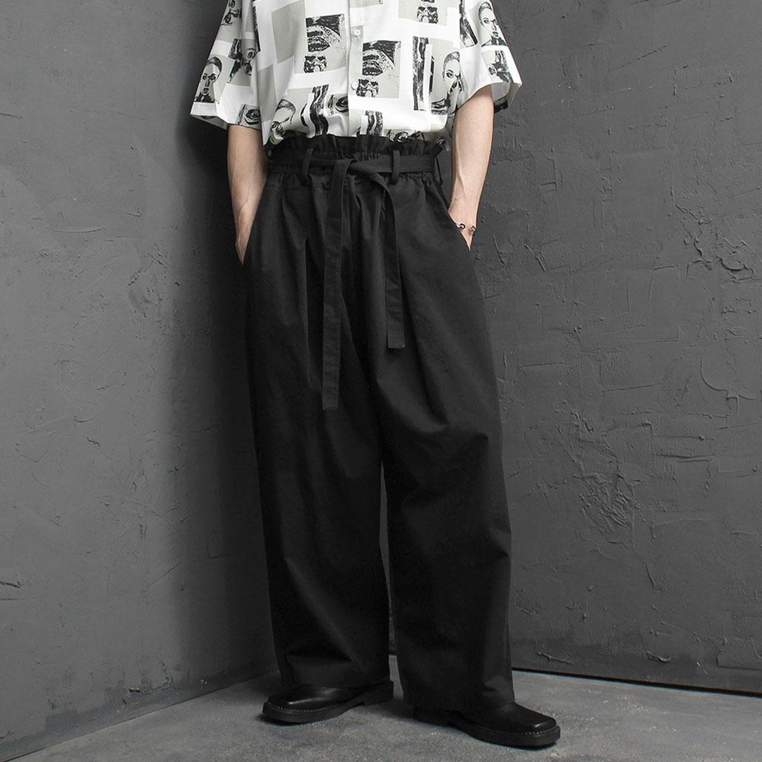 Oversized Fit Wide Strap Belt Pants 2066