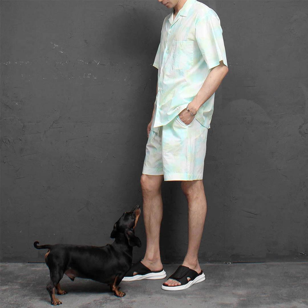 Tiedye Washed Short Sleeve Shirt Shorts Set 2310