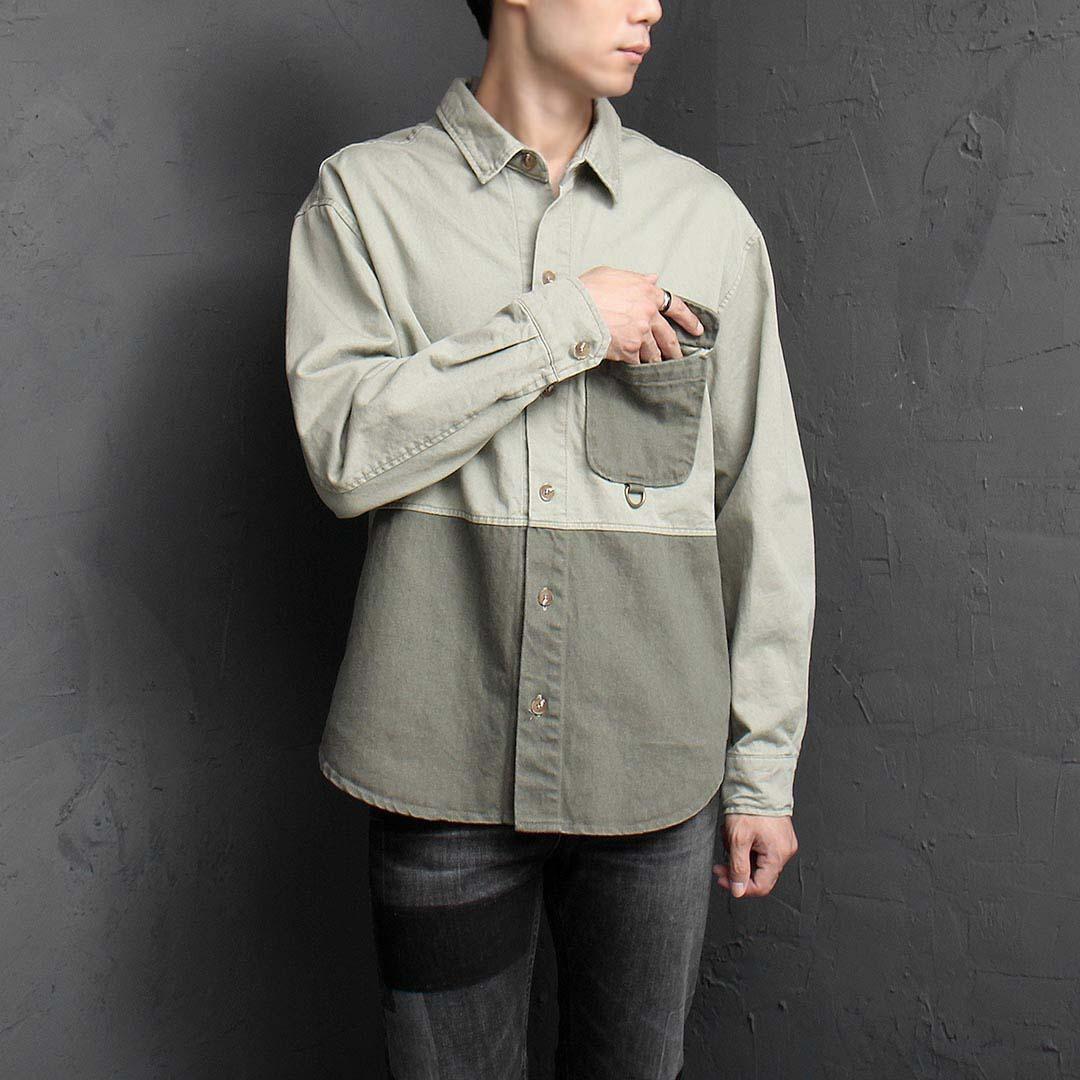 Pocket Unique Contrast Color Shirt 1485