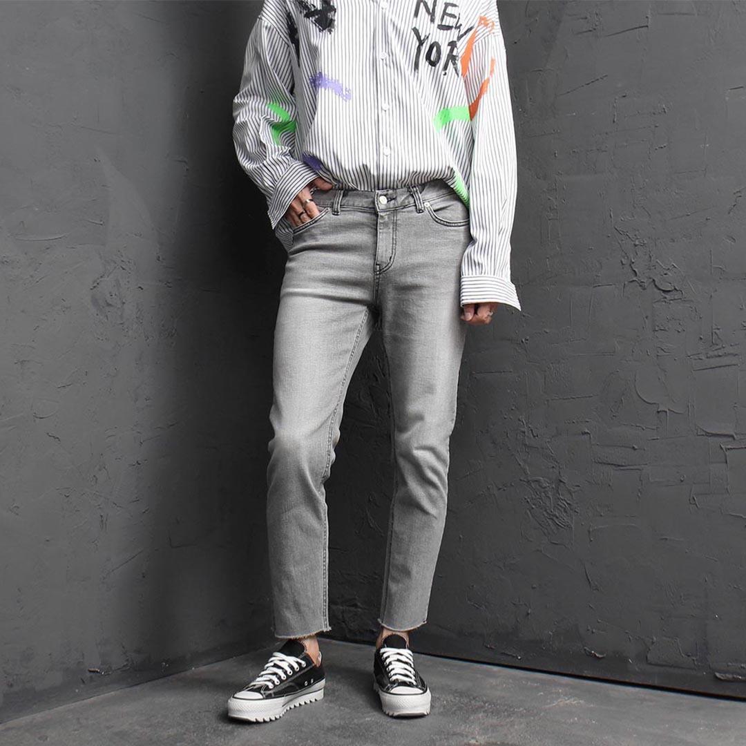 Gray Cut Off Skinny Jeans 2418