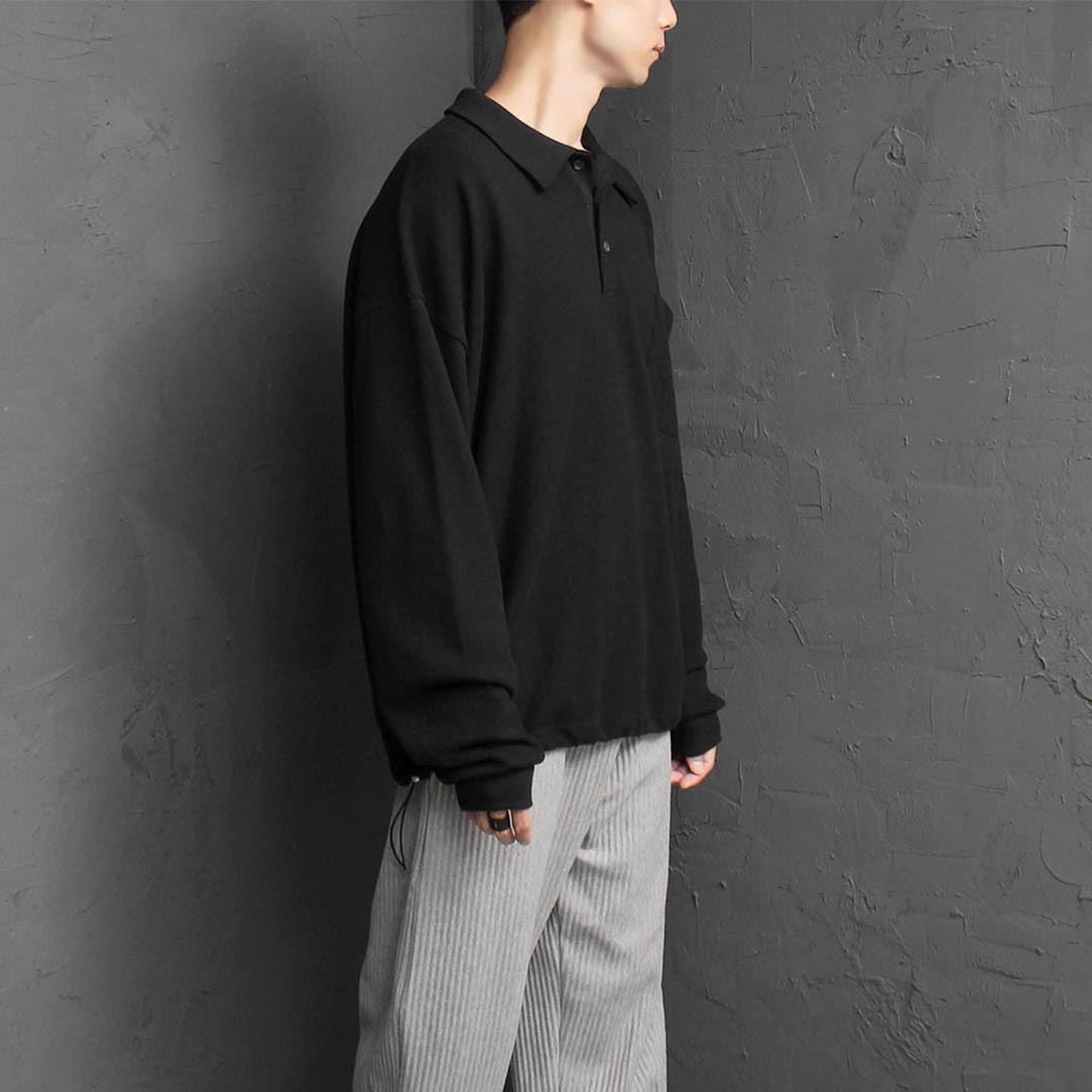 Over sized Fit Draw String Hem Collar Tee 2552