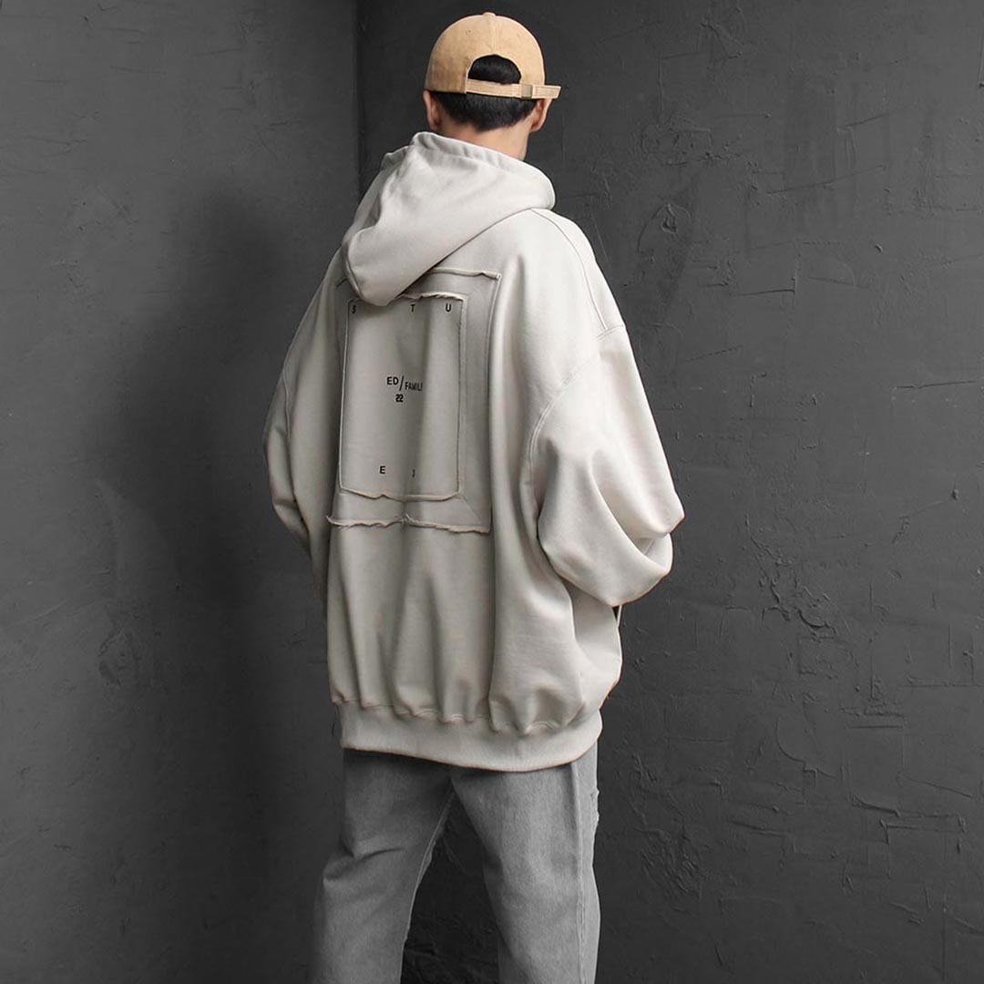 Oversized Fit Square Frame Patch Hoodie 2559