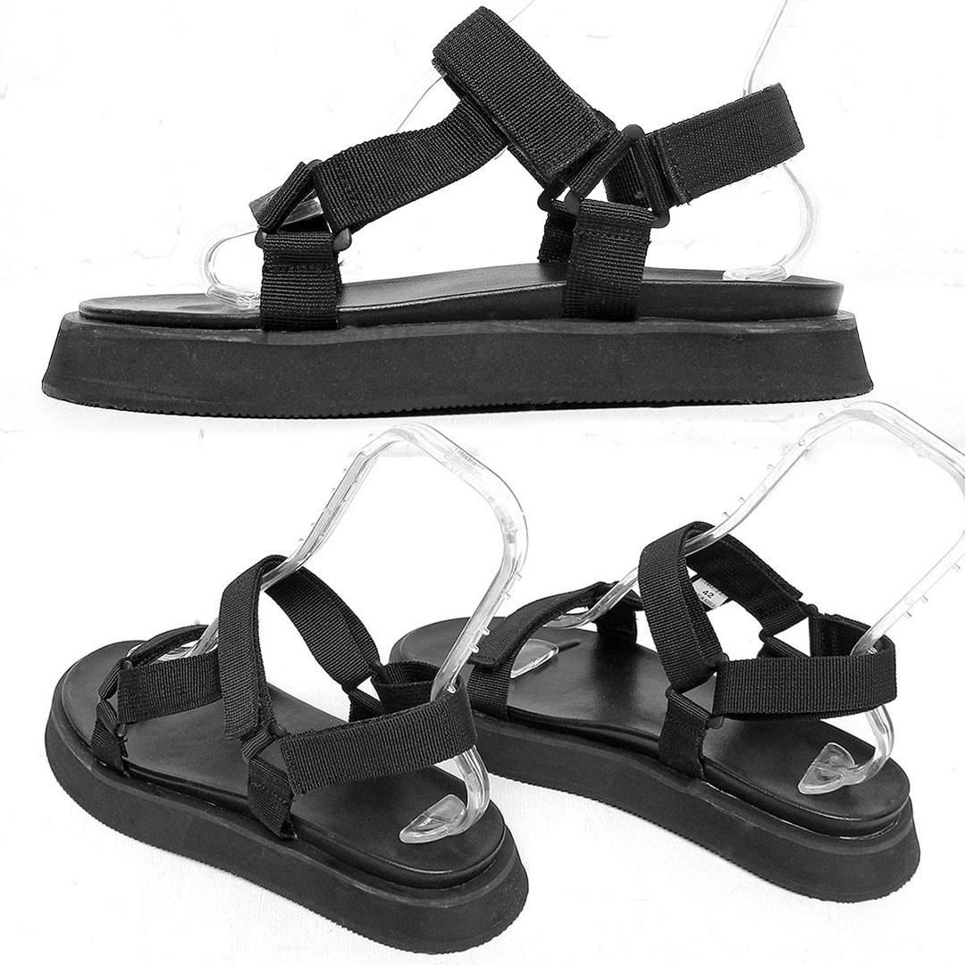 Black Webbing Strap Sandals 478