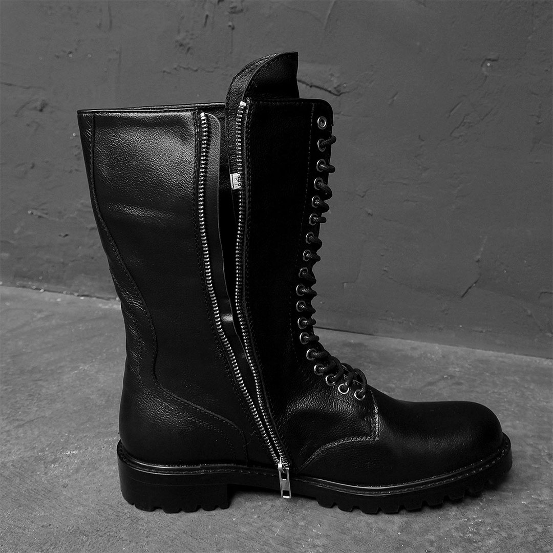 Military Look Lace Up Diagonal Zipper Leather Boots 698