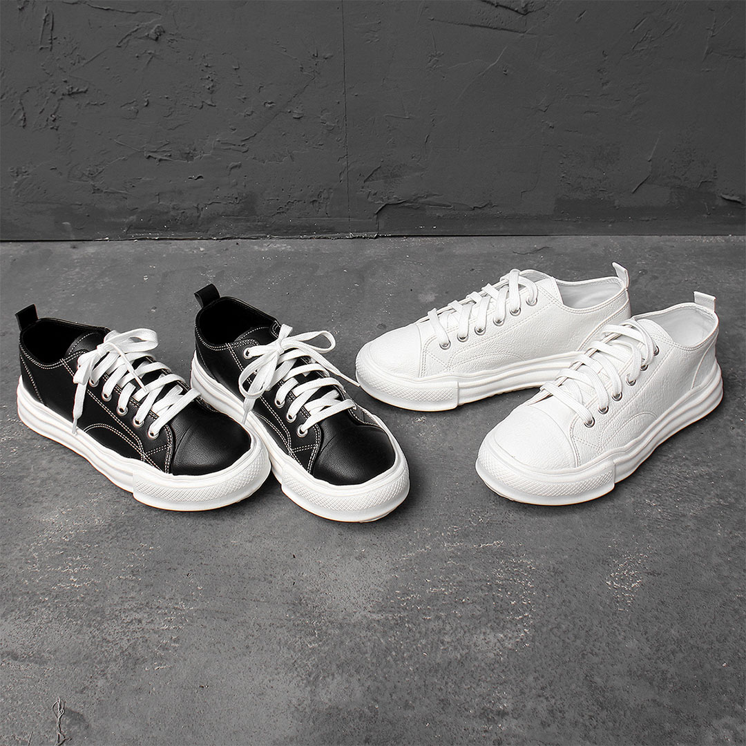 Light Weight Synthetic leather Lace Up Sneakers 891