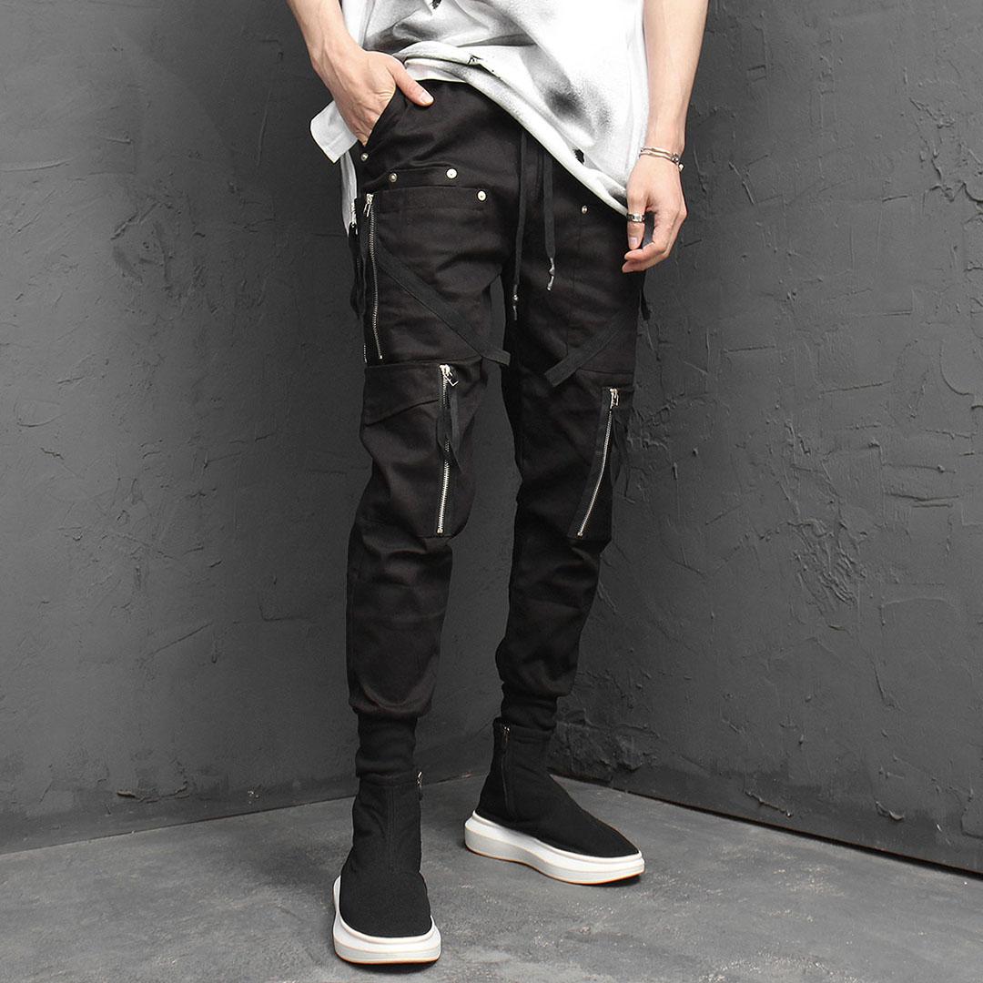 Double Zipper Cargo Pocket Jogger Pants 969