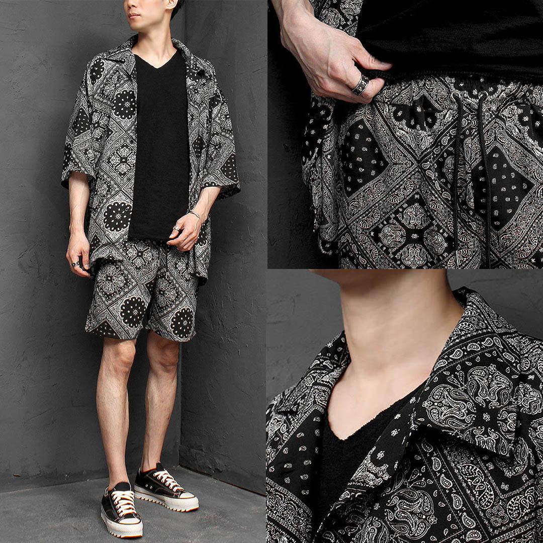 Paisely Short Sleeve Shirt Shorts 1140