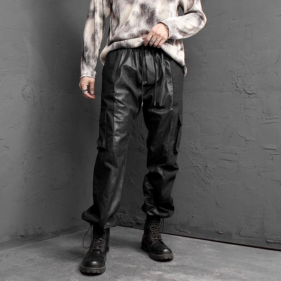 Contrast Leather Cargo Pocket Sweatpants 1461