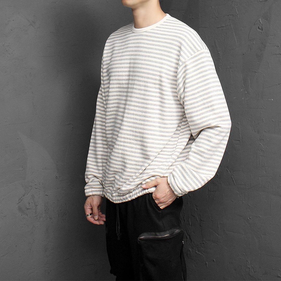 Striped Pattern Elastic Band Sweatshirt 1385