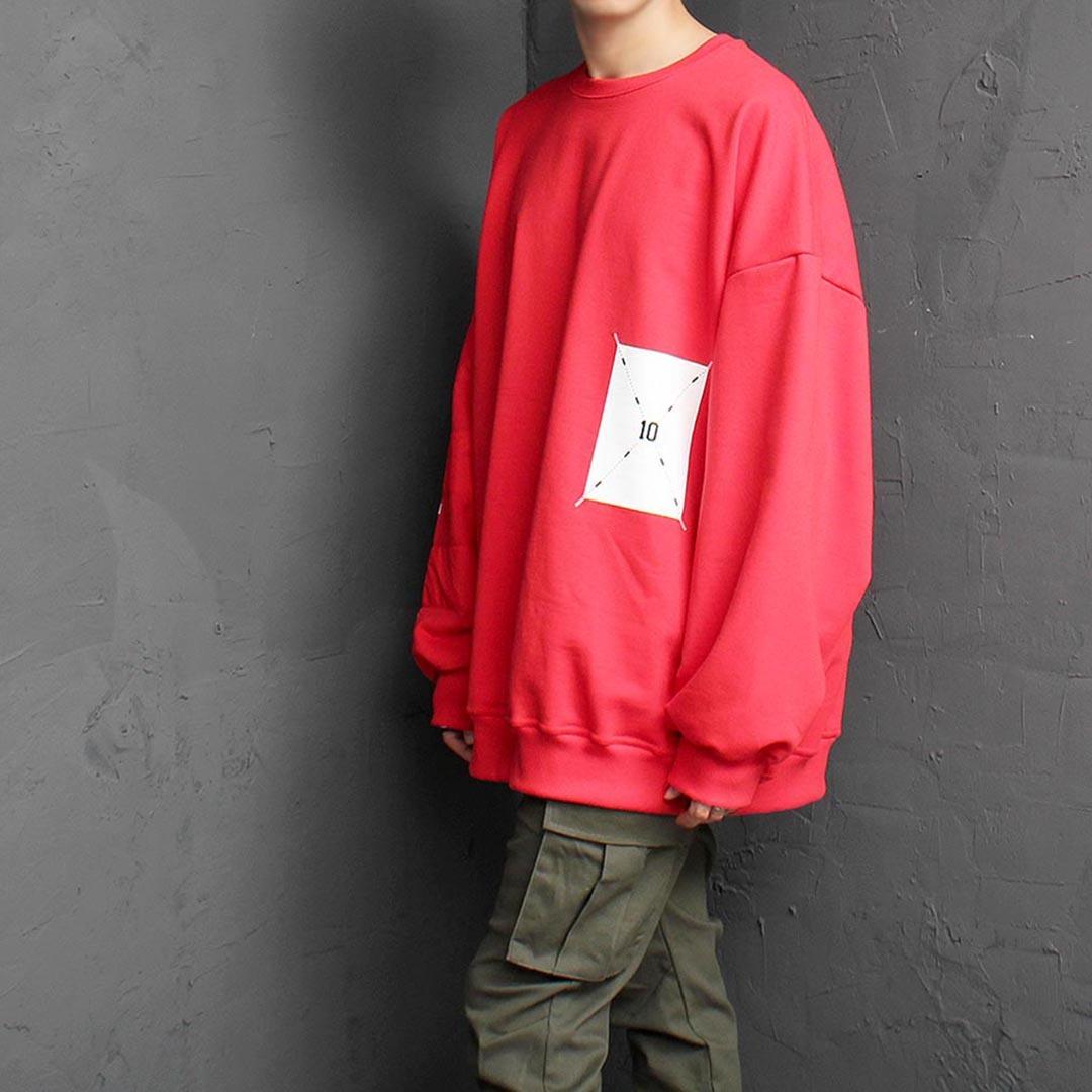 Oversized Fit Unbalanced Contrast Sleeve Sweatshirt 1486