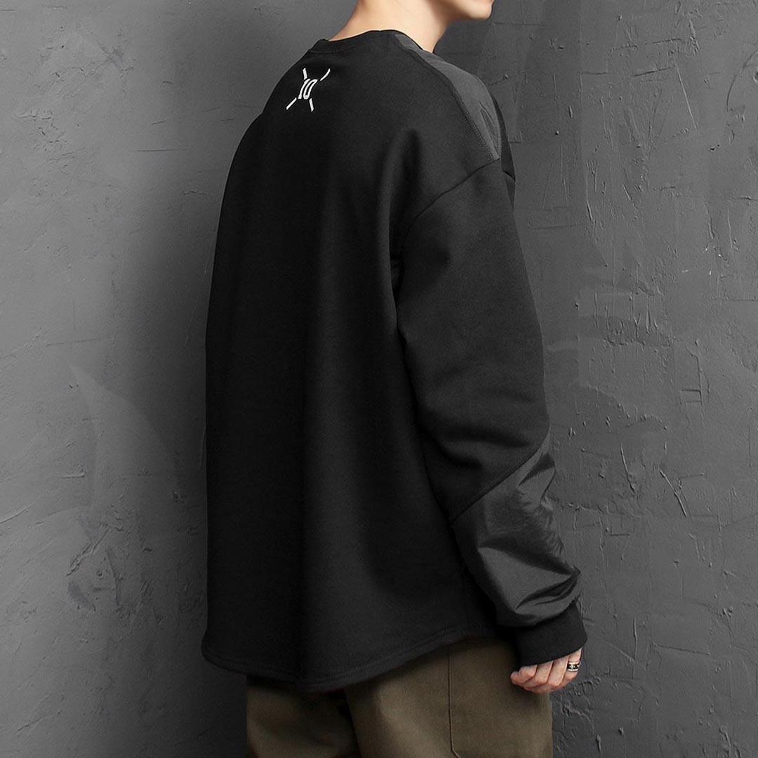 Oversized Fit Diagonal Contrast Woven Sweatshirt 1490