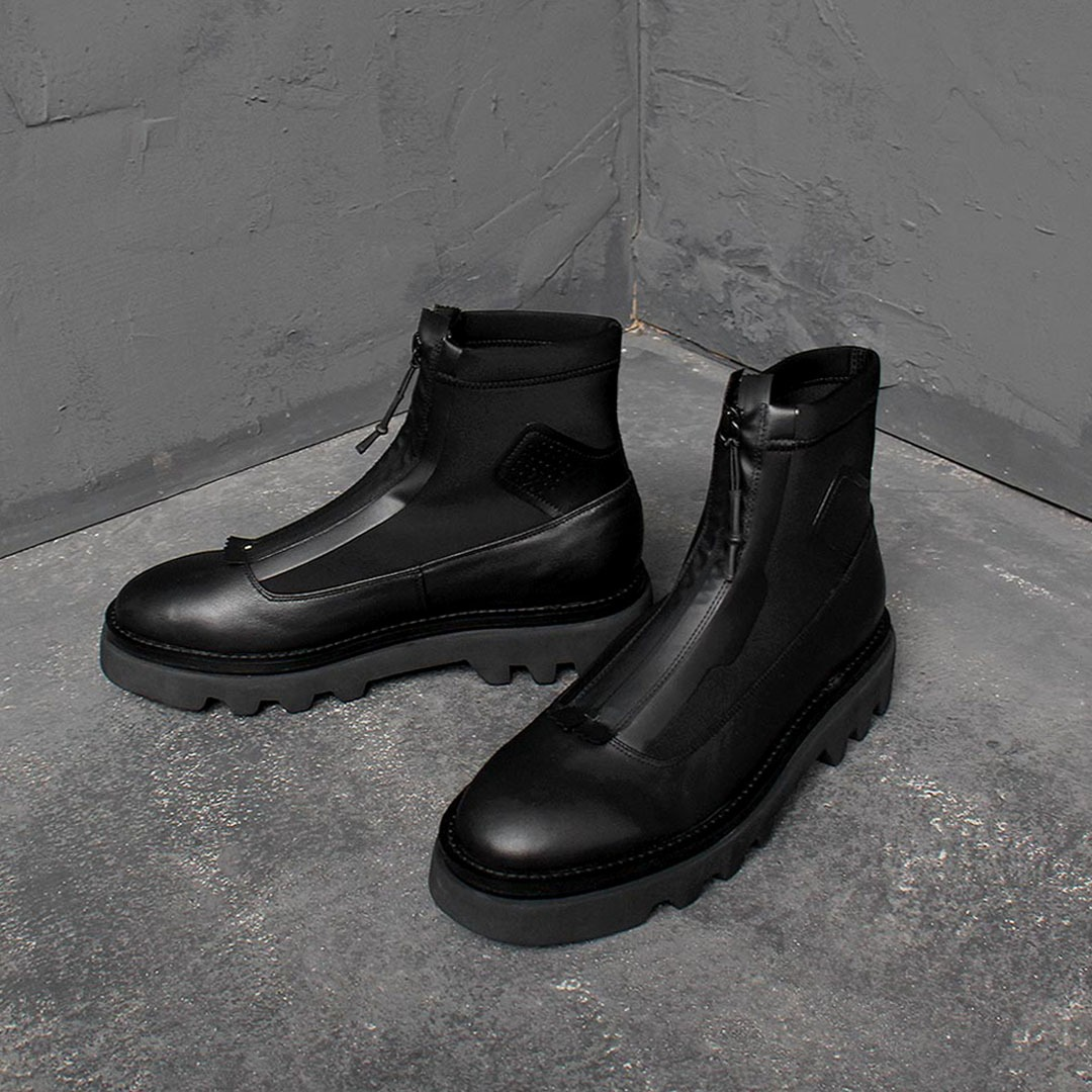 Neoprene Leather Ankle Boots 1611