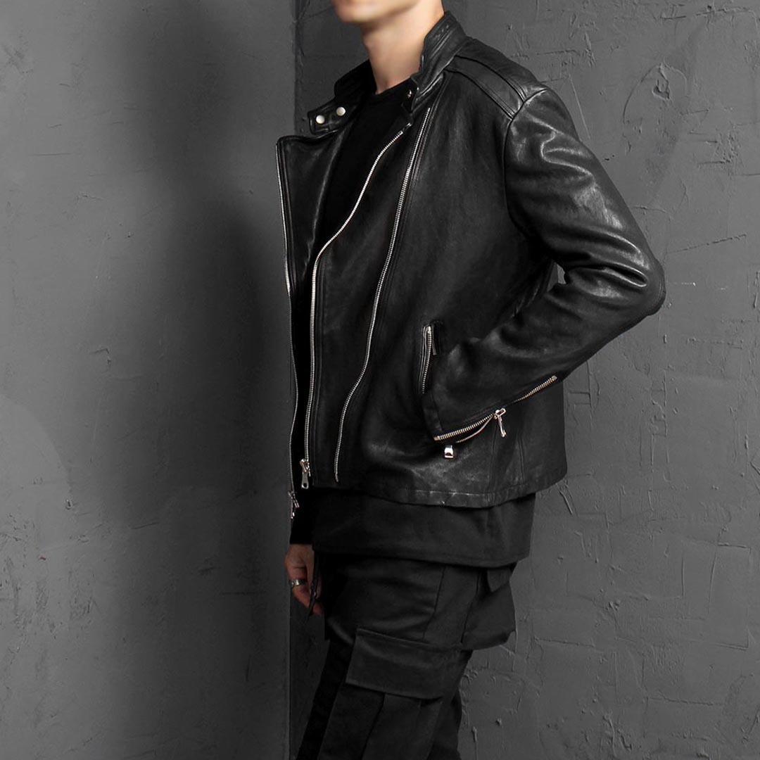 China Neck Double Zipper Leather Rider Jacket 1635