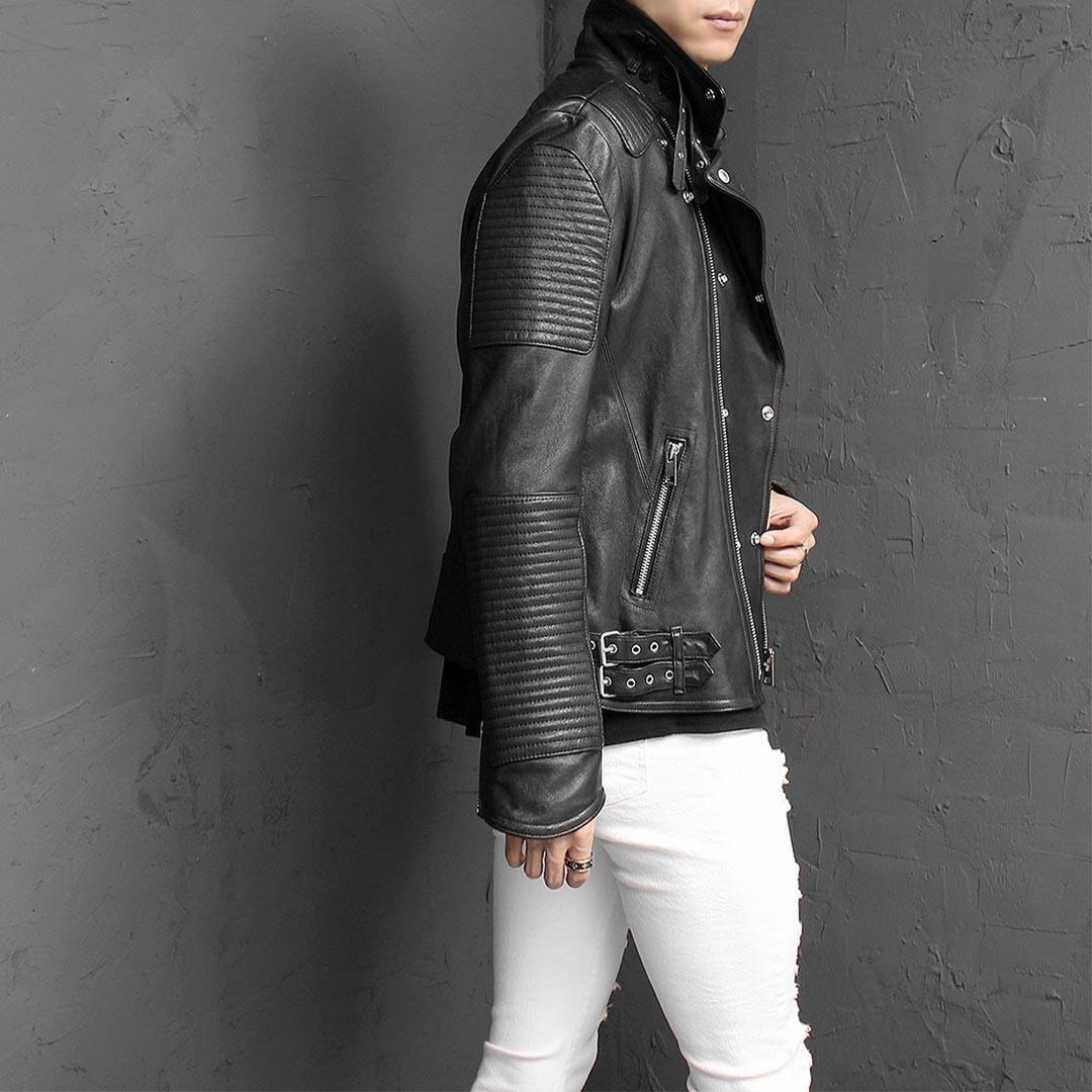 Buckle Paneling Leather Bikers Jacket 1436