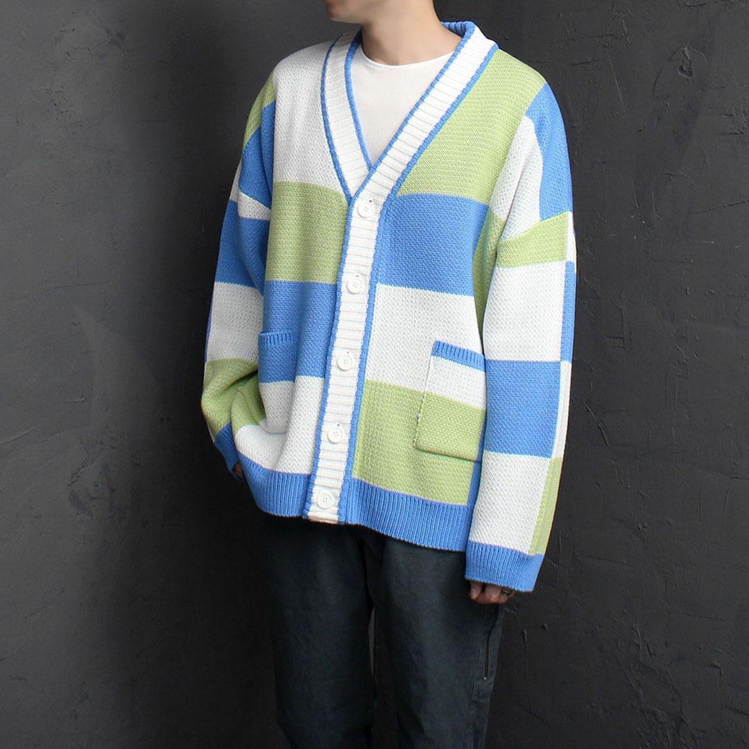 Loose Fit Retro Color Check Knit Cardigan 1873