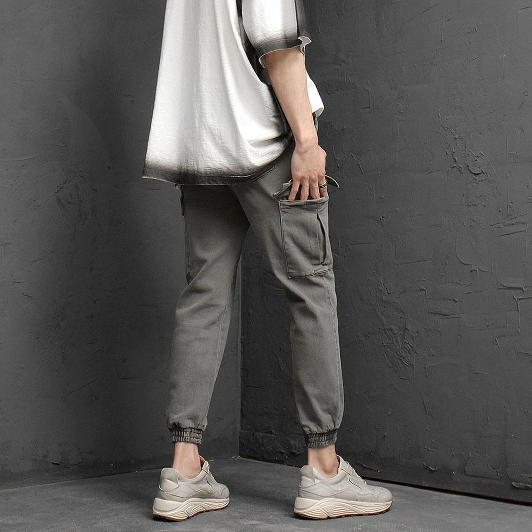 Slim Fit Elastic Waistband Vintage Cargo Pants 1061