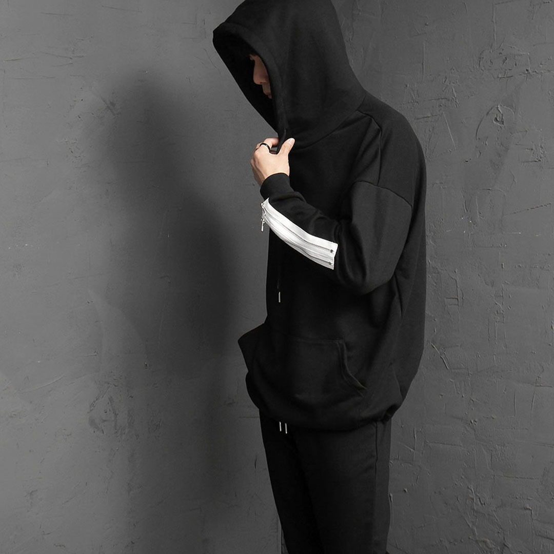 Loose Fit Zippered Cuffs Hoodie 1964