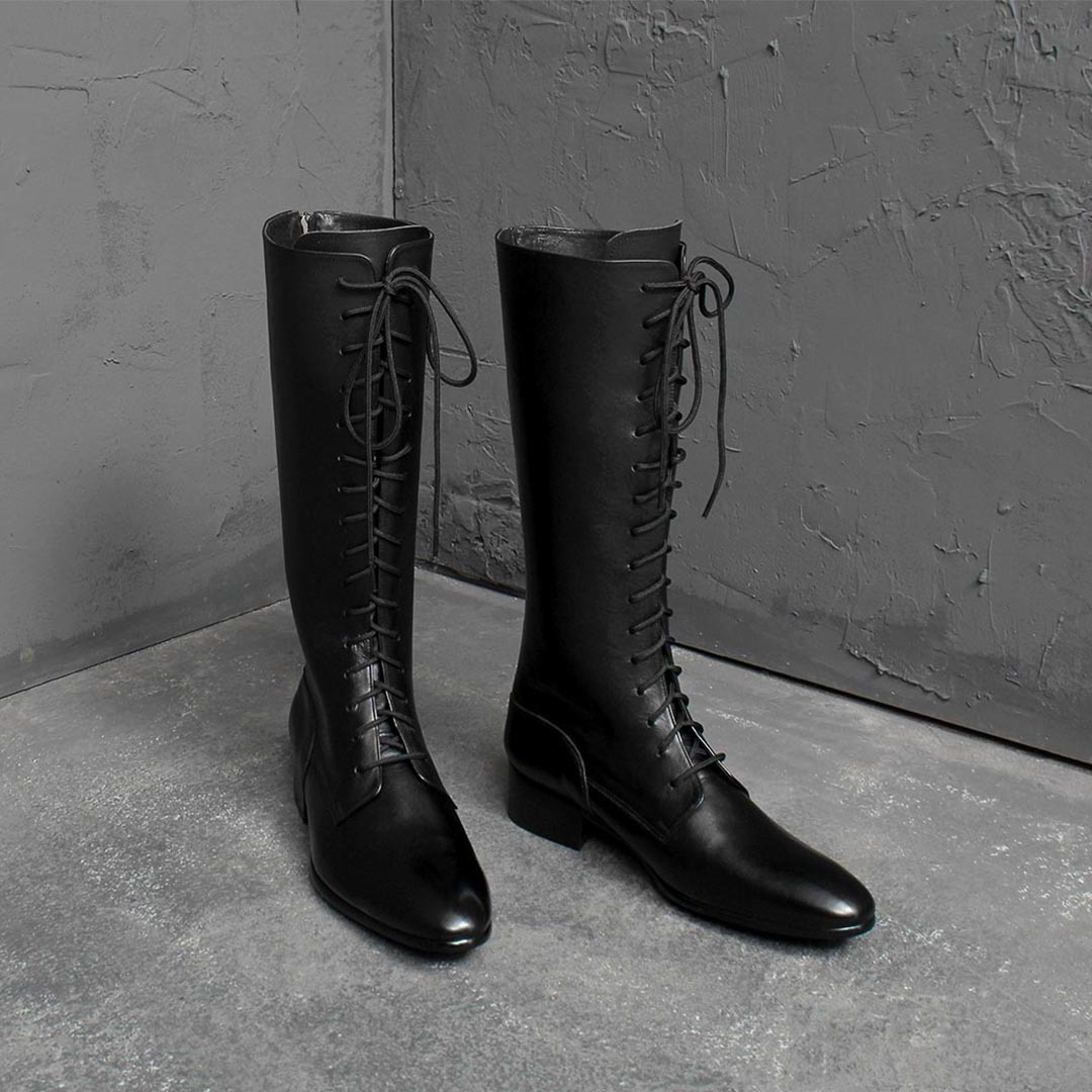 Handmade Leather Lace Up Dainite Sole Long Boots 1919