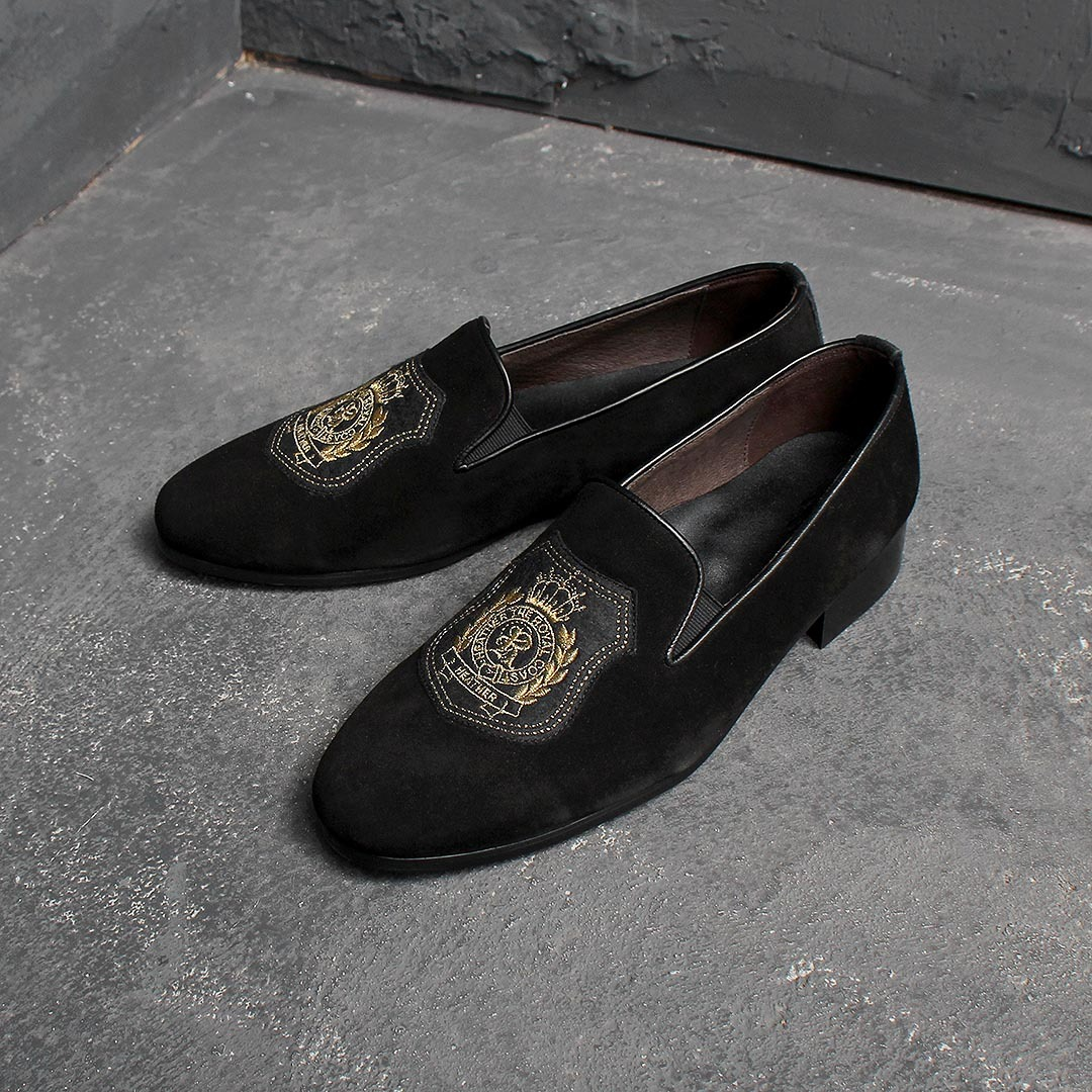 Handmade Suede Embroidery Patch Leather Loafer 2126