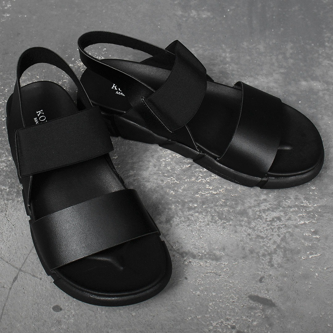 Faux Leather Strap Elastic Band Strap Sandals 005