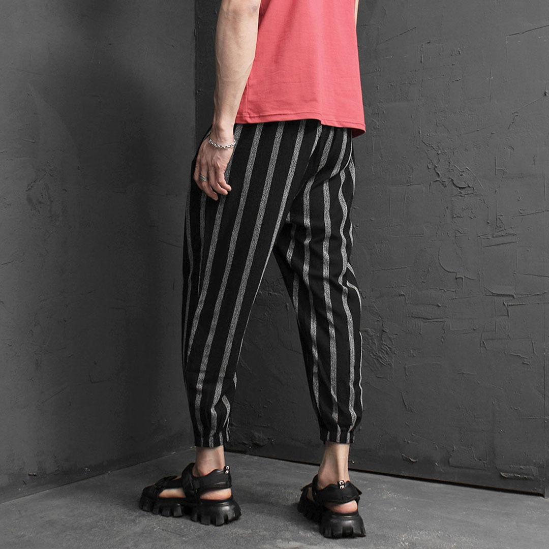 Stripe Elastic Waistband 4/5 Baggy Pants 2073