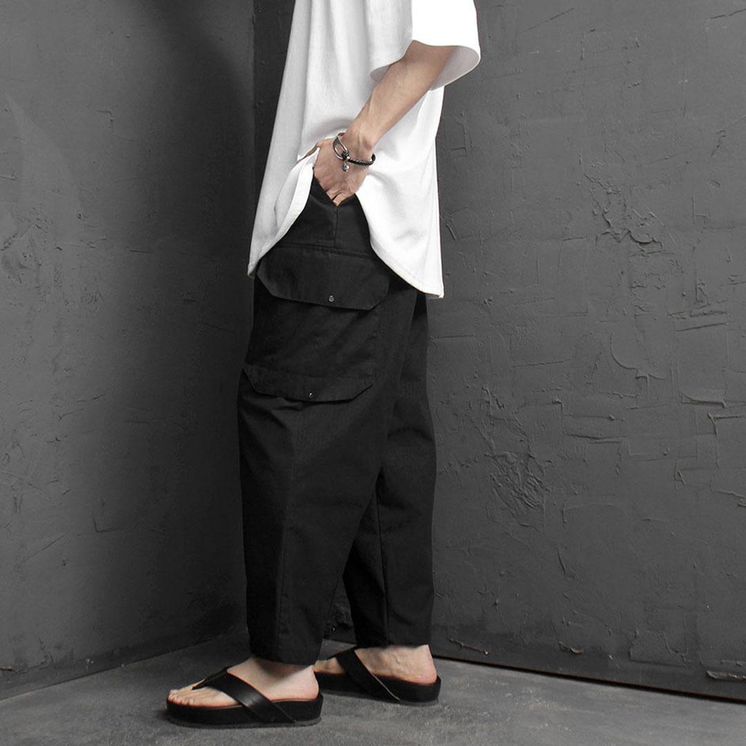 Wide Unbalanced Cargo Pocket Baggy Pants 2069