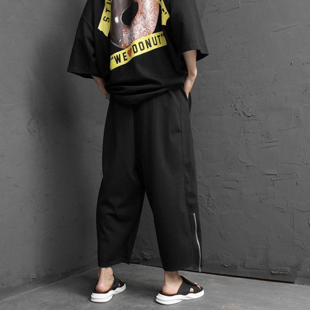 Wide Drop Crotch Zippered Hem Baggy Sweatpants 2194
