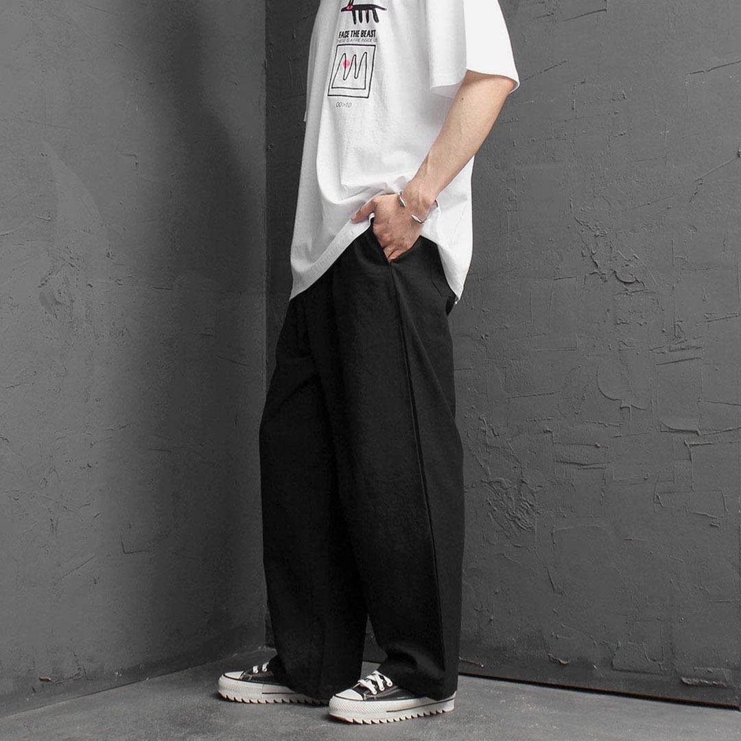 Oversized Fit Elastic Waist Wide Pants 2236