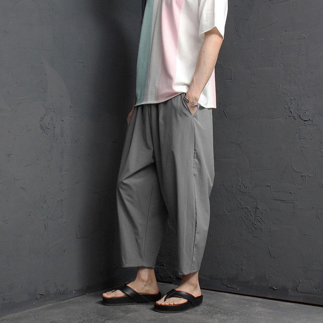 Cool Wide Elastic Band 4/5 Baggy Pants 2173