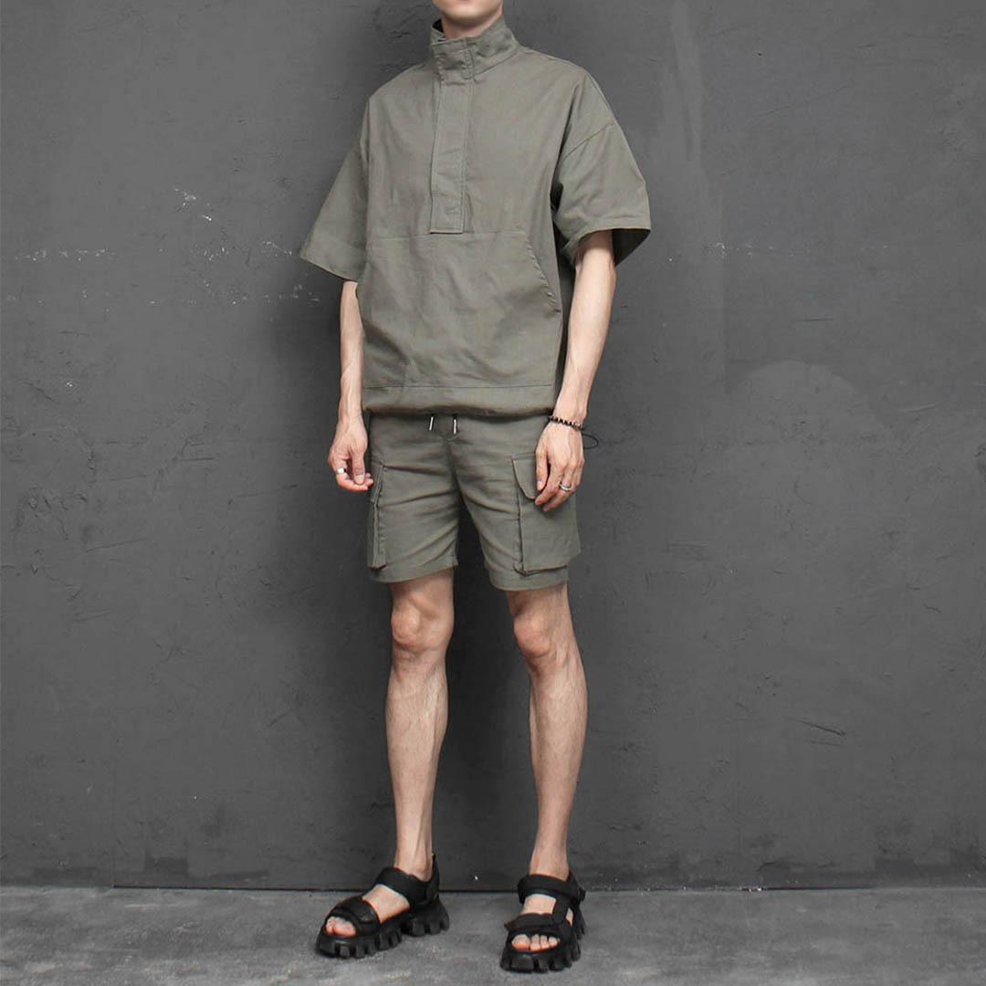 Short Sleeve Anorak Cargo Shorts Set 2302