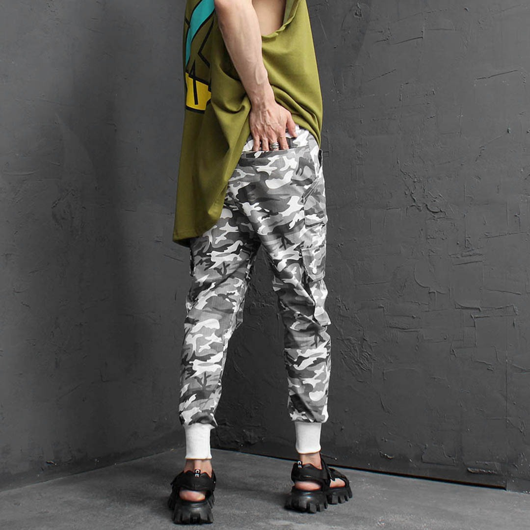 Cool Military Linen Cargo Pocket Joggers 2320