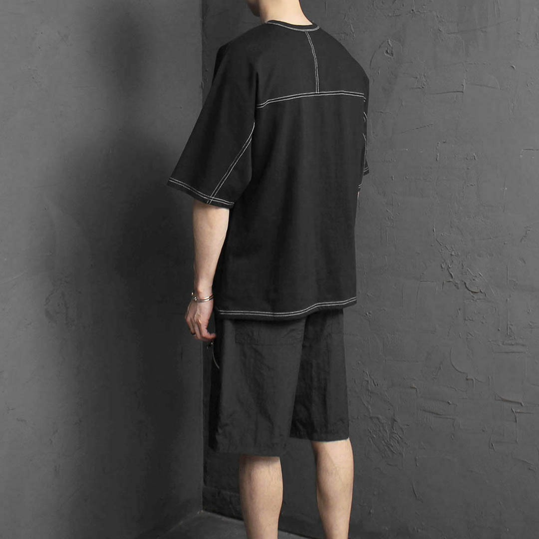 Oversized Fit Stitched Line Tee 2164