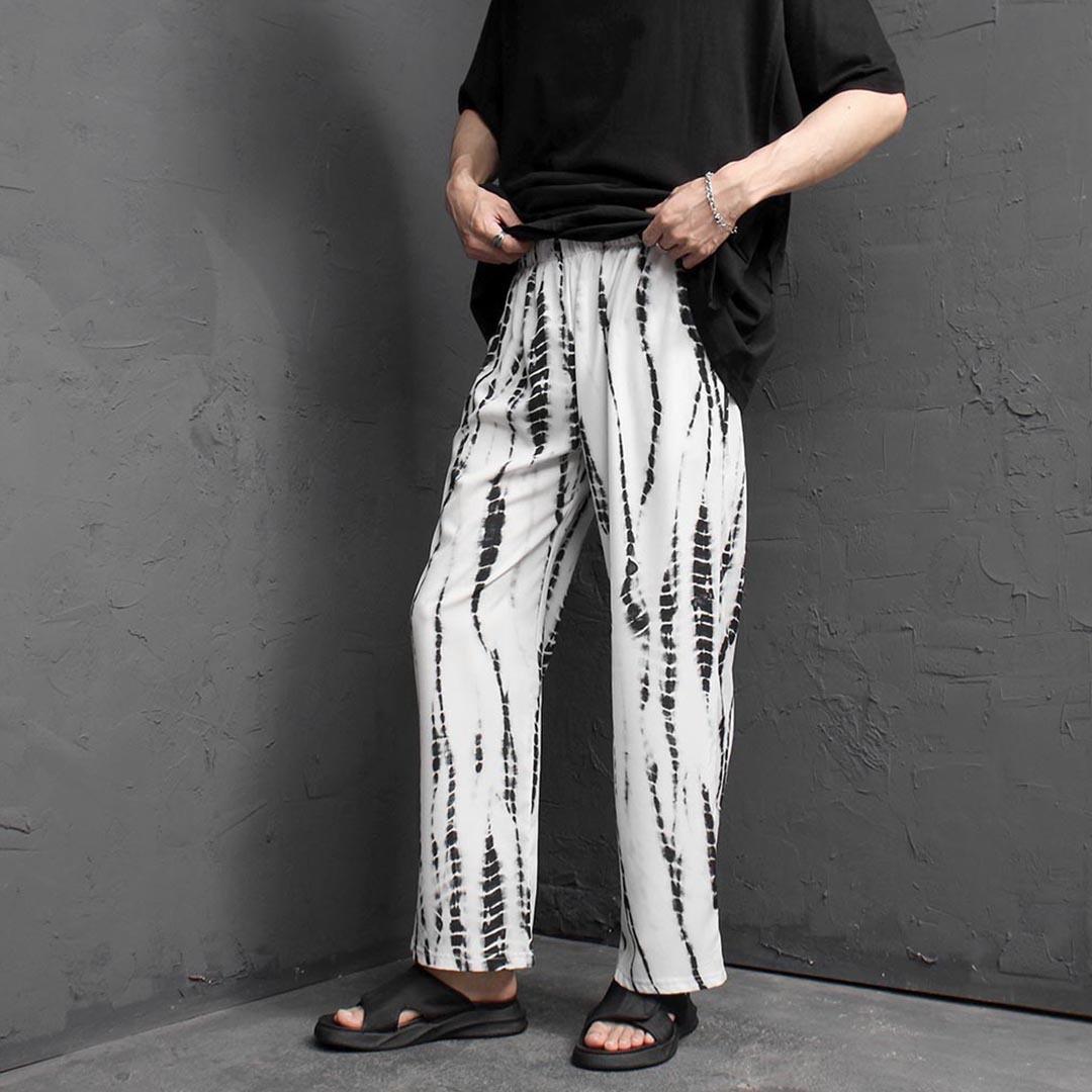 Silky Phthon Pattern Elastic Waistband Pants 2381