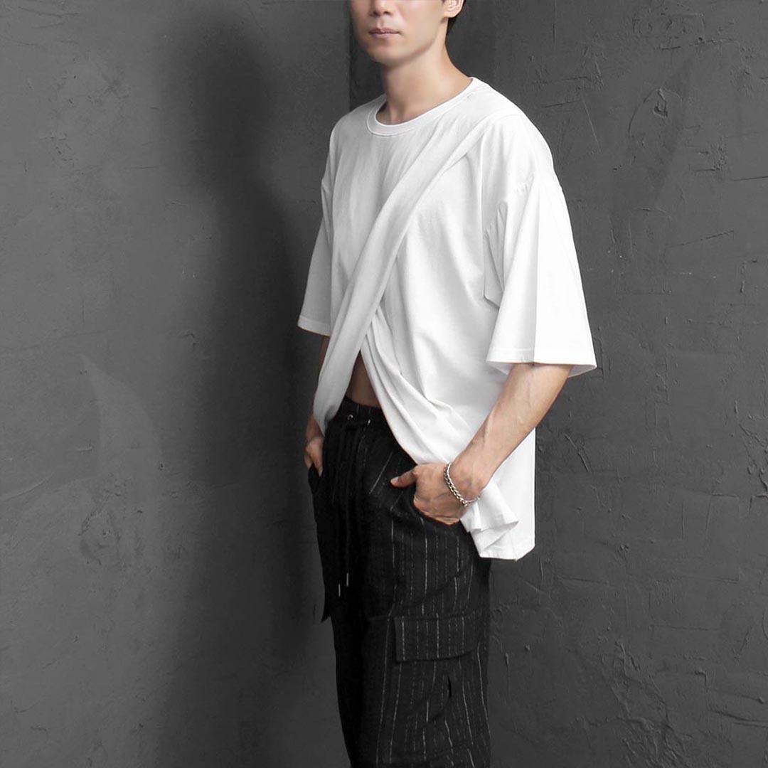 유니크 더블 레이어드 커버 티셔츠 2400