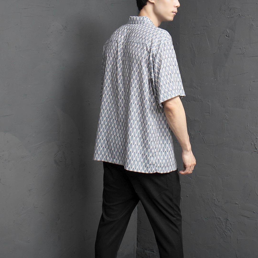나뭇잎 프린팅 쿨링 셔츠 2403