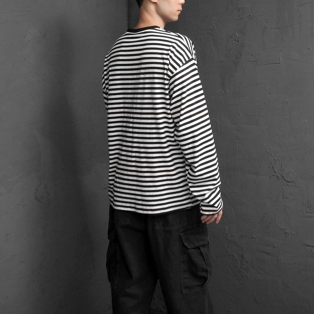 Oversized Fit Stripe Pattern Long Sleeve Tee 2507