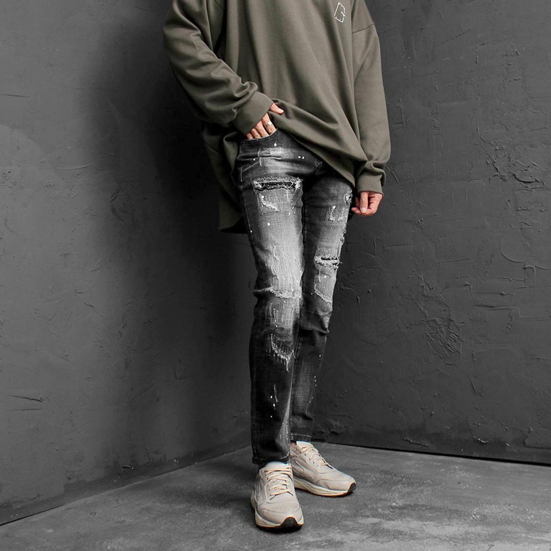 Slim Fit Heavy Distressed Faded Black Jeans 2489