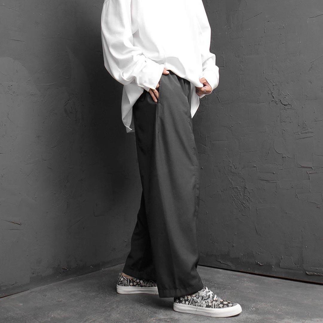Elastic Waistband Baggy Slacks Pants 2480