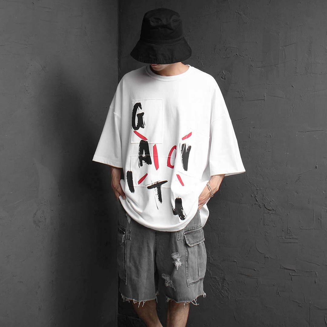 오버핏 패치 프린팅 티셔츠 2352
