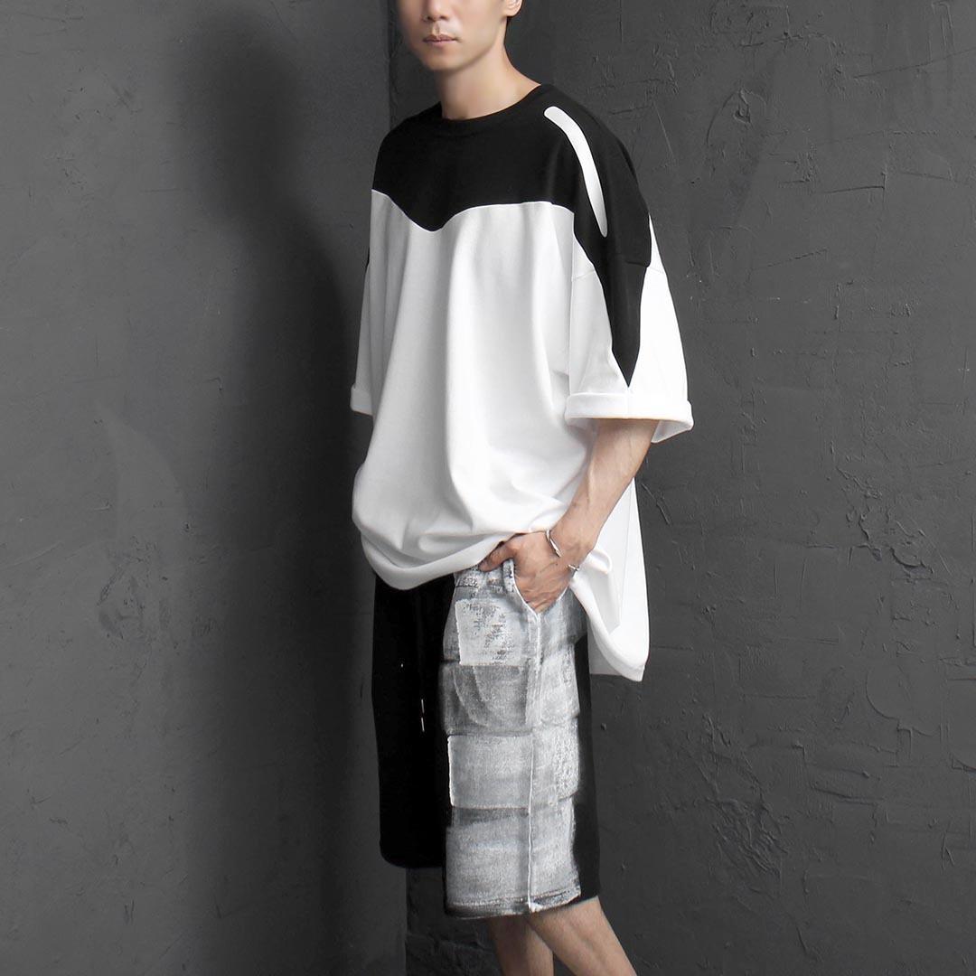 오버핏 빅사이즈 W 절개 티셔츠 2363